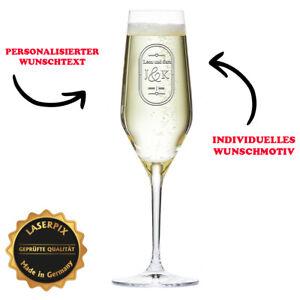 Sektglas mit Gravur Individualisiert Geschenk Bräutigam Hochzeit Initialen Namen