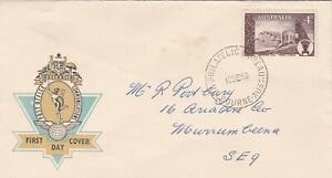 AFD3152) Australia FDC 1958, Hermes, Post Office Communications blue & gold cach