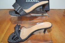 Authentic CHANEL Black Denim Bow Chaton Talons diapositives Mules Sandales UK 4 37