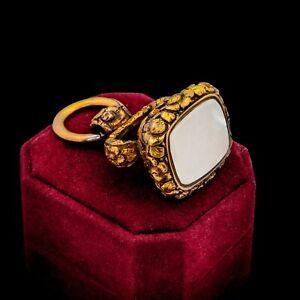 Antique Vintage Georgian 18k Yellow Gold Chalcedony Signet Wax Seal HUGE Pendant
