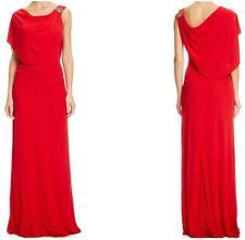 NEW BADGLEY MISCHKA $595 RED DRAPED SHOULDER EMBELLISHED EVENING GOWN DRESS 10