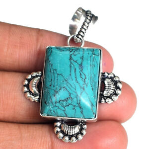 """925 Silver Plated  Designer Turquoise Gemstone Pendant Jewelry S 1 1/2"""" BD-994"""