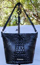 BRAHMIN Quinn Black Melbourne Croco Embossed Shoulder Bucket Bag NWT