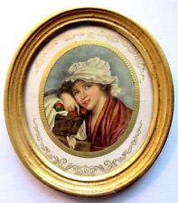 cadre mural, porte-photo ovale tour bois doré, gravure Femme et panier de fruits