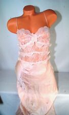 Victoria's Secret Designer Collection Gown Lace Peach Silk Open Back Panty M