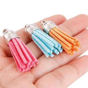 30pcs Velvet Leather Tassel Keychain Car Key Chain For Women Bag Tassel Pendants