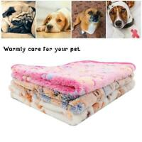 Warm Pet Cat Dog Mat Small Large Paw Print Puppy Fleece Cushion Bed Blanket T6P9