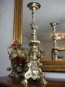 Kirchenleuchter Gold 61 cm Antik Barock Messing XL Kerzenleuchter Kerzenständer