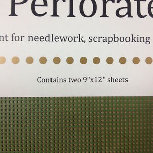 """Mill Hill 14 count Perforated paper 9 x 12"""" 2 sheets Olive Leaf"""