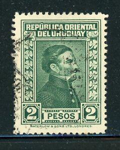 URUGUAY Used Selections: Scott #376 2P Dark Green Artigas WATERLOW CV$9+