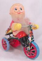 Santa Claus on Tricycle Bike Wind Up Toy Tin Plastic Bell Rings Made Japan Works