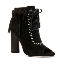 $265 CYNTHIA VINCENT SUEDE ANKLE BOOTIES IN BLACK FRINGE & ROPE DETAIL 9.5-9 NEW