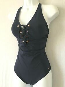 Ladies Navy Blue F&F Lace Up Swimsuit Size 12 - Control Padded Bust Support