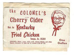 Vintage KENTUCKY FRIED CHICKEN Cherry Cider STICKER Tempe Arizona KFC Colonel