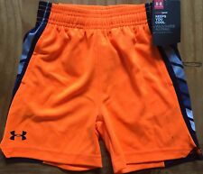 Under Armour Boys HeatGear Neon Orange Navy White Gray Stripe NEW NWT Size 2T