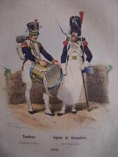 Gravure TAMBOUR Sapeur de GRENADIERS Garde impériale en 1810  Napoléon Bonaparte