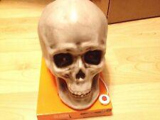 ANIMATED TALKING NEW SKULL HEAD SKELETON EYES LIGHT UP JAW MOVES PROP