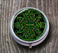 CELTIC GREEN SYMBOL PILL BOX ROUND METAL -avf4Z