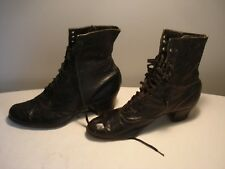 Vintage.High Top.Leather Lace Up.Victorian Ladies.Black Granny Boots