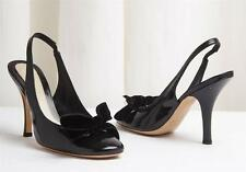 MARC JACOBS Black Patent Leather Slingback Bow Detail High Heel Pump Shoe 7-37