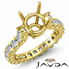 Round Diamond Engagement Eternity Style Ring 14k Yellow Gold Semi Mount 1.40Ct