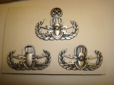 US ARMY,NAVY, AIR FORCE EXPLOSIVE ORDNANCE DISPOSAL  BADGE SET, (YOU GET ALL 3)