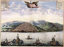 Vögel Ösen Ansicht von Alger in 1600s Algerien Groß Bild Antik Alte Karte Plan