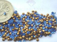 48 x SWAROVSKI 8ss / 18pp Sapphire gold-foiled # 1100 castoni
