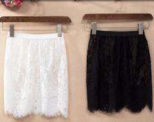 Lady Lace Sheer Slip Mesh Skirt Floral Underskirt Chemises Hollow Out Short Slim