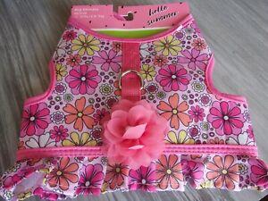 pink FLORAL Dog Body Harness Vest XS M New Pet no choke free Simply Wag Medium