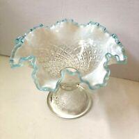 Fenton Vintage Diamond Lace Pedestal Compote French Opalescent Aqua Blue Crest