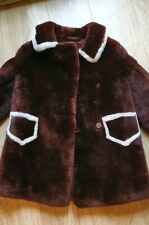 Vintage Brown Faux Fur Thick Extra Warm Jacket Coat XL Xtra Large