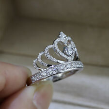 2Ct Round Cut VVS1 D Diamond Princess Crown Engagement Ring 14k White Gold Over