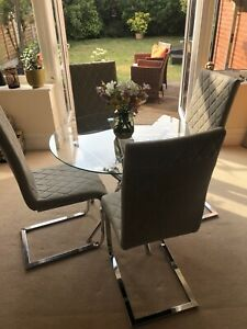 Glass Round Dining Table Set and 4  Ash Grey Chairs Modern Chrome Legs