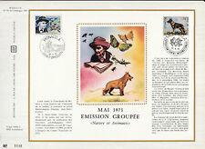 a  feuillet CEF Monaco  émission groupé nature et animaux papillon chien  1973
