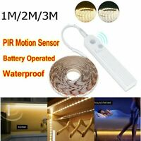 Battery Powered LED Strip Lights Wireless PIR Motion Sensor Wardrobe Closet Lamp