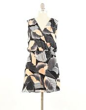 Parker Dress S Art Deco Geometric Print Sleeveless Silk Blouson Mini