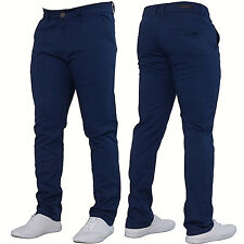 Mens Enzo DESIGNER Fashion Chinos Stretch SKINNY Slim Fit Jeans Pants All Sizes Blue 42 In. 32l