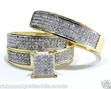 His Hers Men Womens Diamond Rings Set Wedding Bridal 1/2 CT 10k Yellow Gold Trio