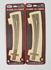 """ATLAS 1/160 N SCALE  2  X  CODE 55 21.25""""R / 15R""""  LEFT CURVED TURNOUT 2058 F/S"""