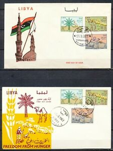 FREEDOM FROM HUNGER CAMPAIGN - LIBYA - 2 DIFFERENT FDC'S 21.3.1963        DV557