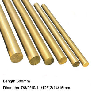 Solid Brass Round Bar Rod CZ121/H59 Length 500mm Dia 7/8/9/10/11/12/13/14/15mm