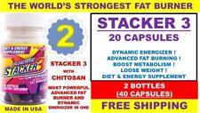 2 STACKER 3 20 CAPSULES Bottle WORLD'S STRONGEST FAT BURNER Weight Loss 40 PILLS