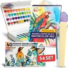 Profi Aquarellfarbkasten Set I Aquarellfarben I Aquarellpapier-block I 54 Teile