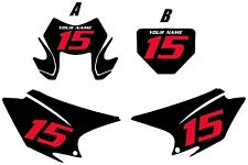 2015-2017 HONDA CRF230F Custom PrePrinted Backgrounds Black with Red Numbers