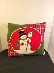 Snowman Decorative Throw Pillow Felt Applique Patchwork Christmas Holiday Decor