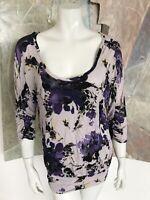 Lauren Conrad LC Iris Floral Scoop Neck Blouse Shirt Top Size Medium