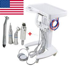 Portable Dental Delivery Mobile Cart Unit 4 Hole Syringe +High Low Handpiece Kit