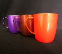 6 x COLOURFUL PLASTIC MUGS Drinking Cups BPA Free Tea Coffee Camping Picnic Kids