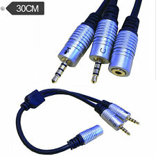 DC 3.5mm TRRS 4Pole Female to 2 3.5mm male input TRS Stereo Audio Splitter Cable